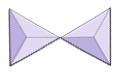 Two triangles joined at their tips.