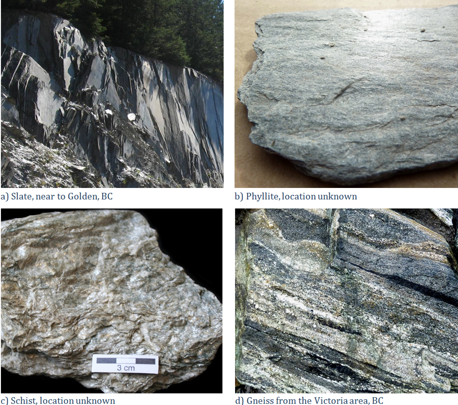 Figure 6.2.4: Examples of foliated metamorphic rocks: (A) Slate, (B) Phyllite, (C) Schist, (D) Gneiss.