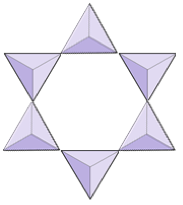 Six triangles joined together in a circle to form a star