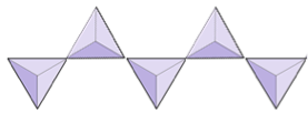 Five triangles joined together in a line.