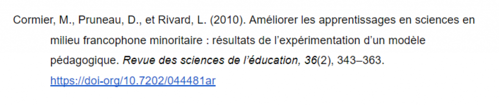 Référence pour l'article Améliorer les apprentissages en sciences en milieu francophone minoritaire : résultats de l'expérimentation d'un modèle pédagogique
