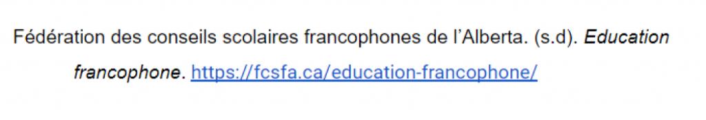 Référence pour le site Web Fédération des conseils scolaires francophones de l'Alberta