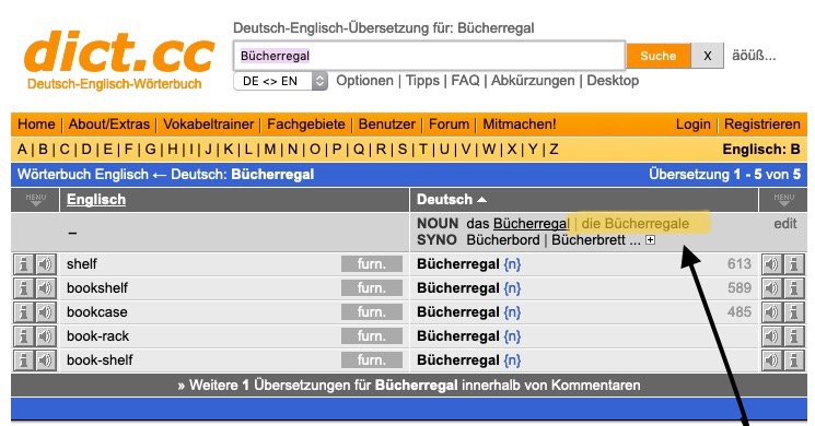 screenshot of dict.cc showing where to find the plural form (right beside the noun in the singular)