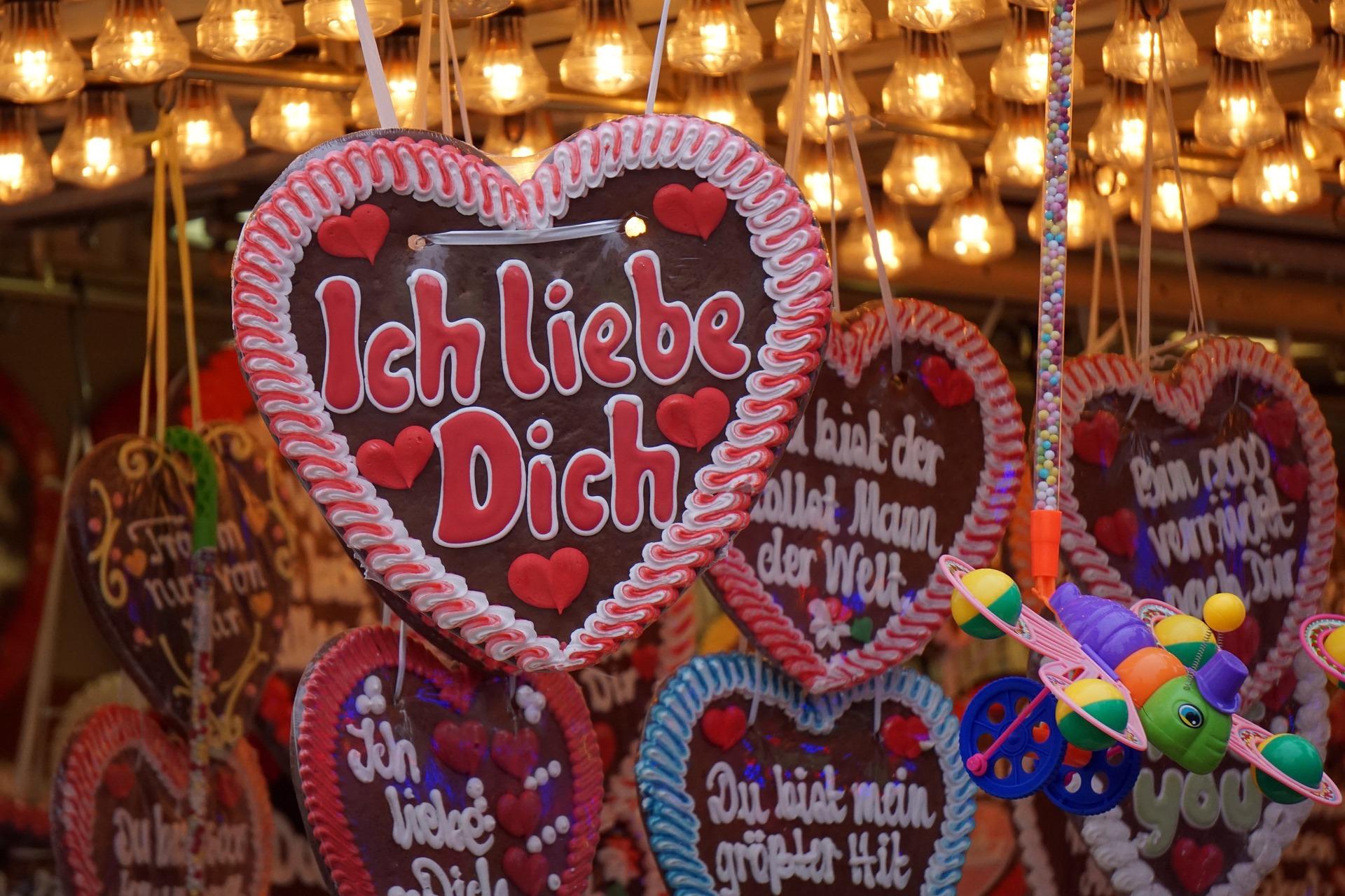 """Ich liebe dich"" written on a cookie from a state fair"