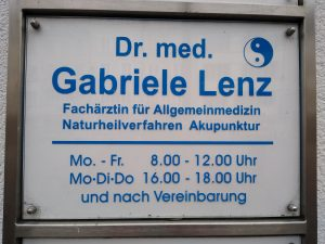 Dr. Gabrielle Lenz (sign from outside her office)