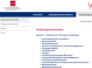 screenshot from the Gutenberg University website