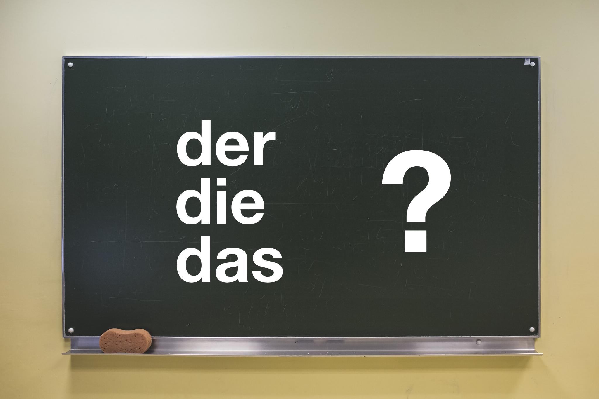 blackboard with: der, die, das