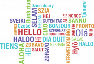word map of hello in different languages