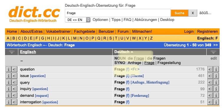screenshot of dict.cc