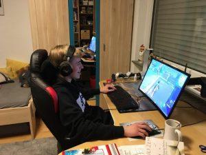 Tim playing video games