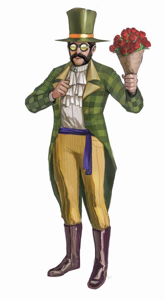 man wearing a tall green tophat, aviation googles, green checkered blazer, white shirt, purple belt, yellow striped pants, tall riding boots
