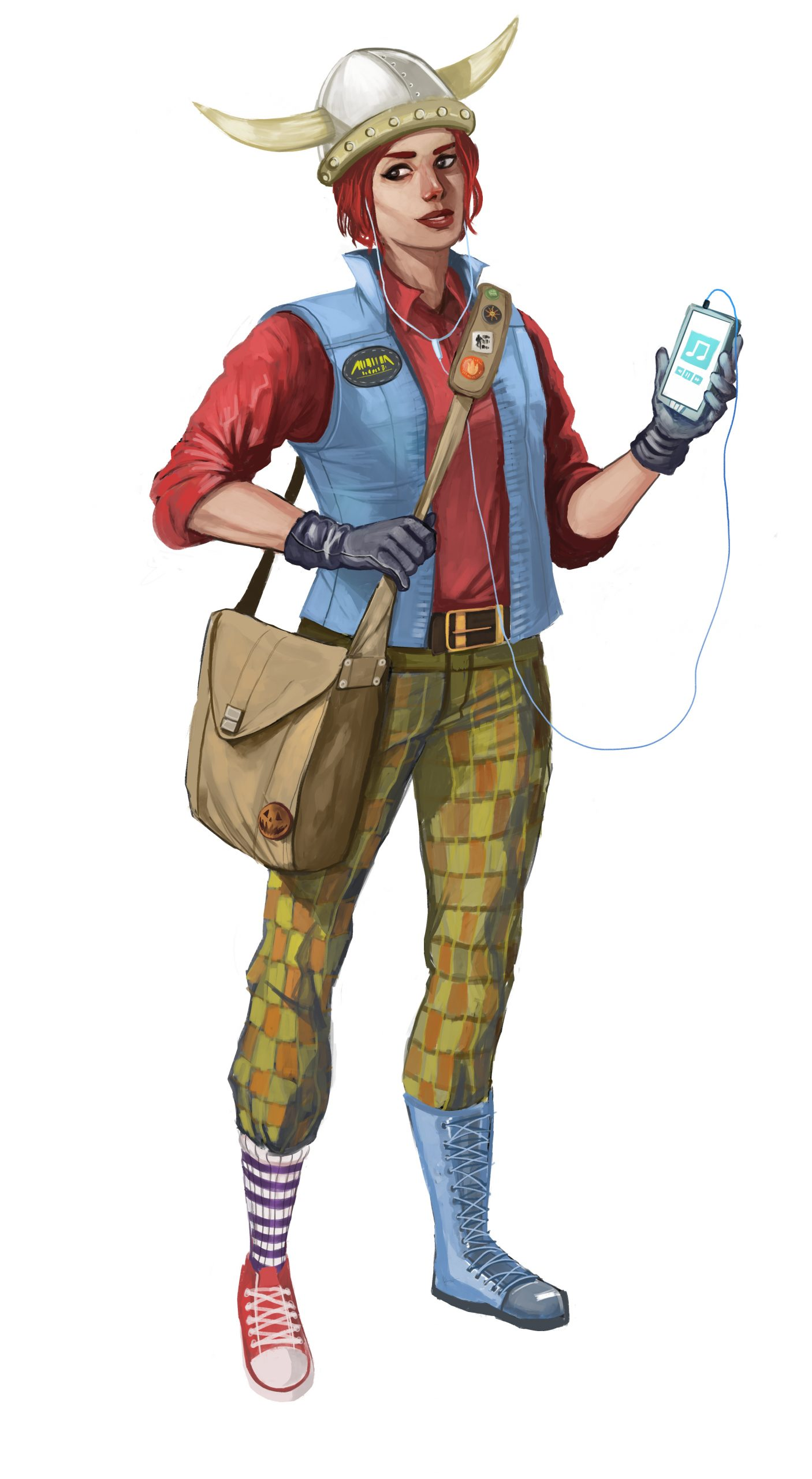 a woman wearing a hat with horns, blue vest, red button up shirt, bag across her body, green and orange checkered pants, one blue boot, one red shoe and white and purple sock.